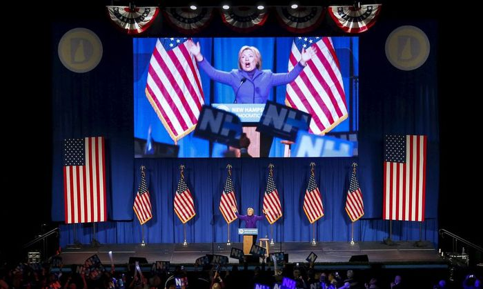 Democratic U.S. presidential candidate Hillary Clinton speaks at the 2016 McIntyre-Shaheen 100 Club Celebration in Manchester, New Hampshire