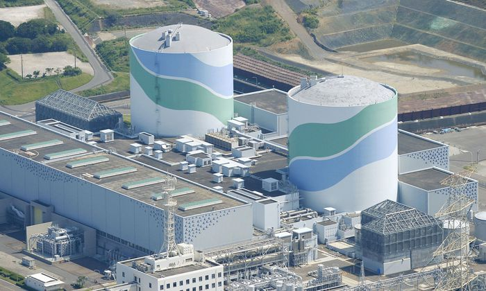 An aerial view shows the No.1 and No.2 reactor buildings at Kyushu Electric Power´s Sendai nuclear power station in Satsumasendai