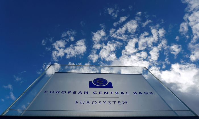 FILE PHOTO: Sign of the European Central Bank (ECB) is seen ahead of a news conference on the outcome of the Governing Council meeting, outside the ECB headquarters in Frankfurt
