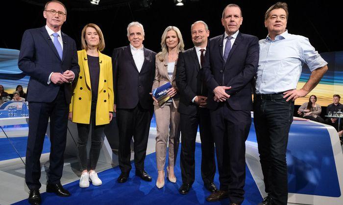 """Die EU-Spitzenkandidaten bei der """"Elefantenrunde"""" im ORF, 23. Mai 2019"""