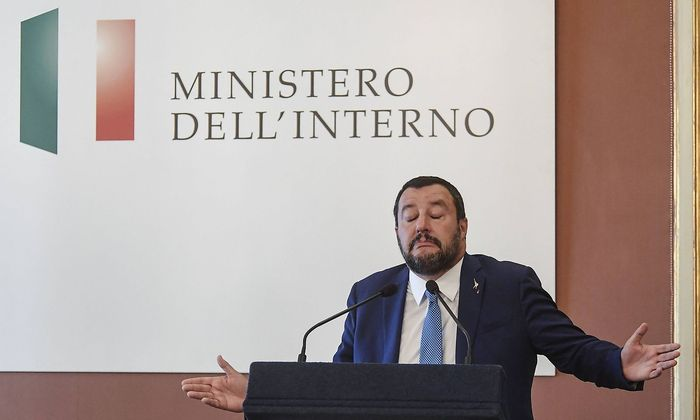 Matteo Salvini interior minister visiting the Vasto district and meeting in the prefecture with the