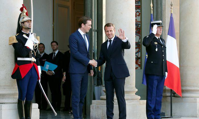 Bundeskanzler Sebastian Kurz traf zur Vorbereitung des EU-Gipfels Frankreichs Staatspräsident Emmanuel Macron im Élysée.