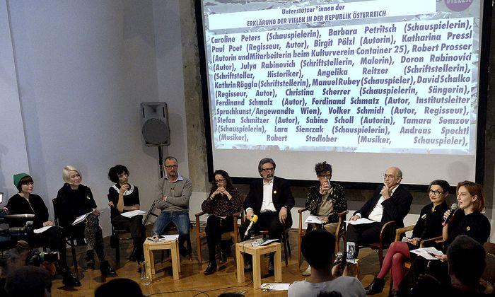 """Bei der Pressekonferenz der """"Die Vielen"""" am vergangenen Dienstag in Wien."""