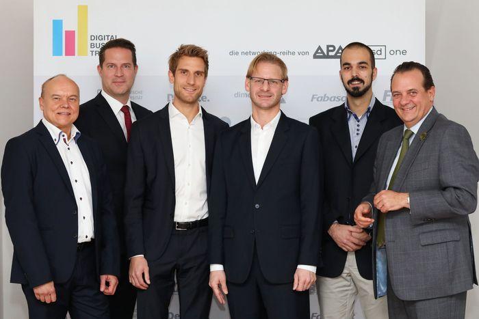 v.l.n.r.: Wolfgang Nimführ (IBM Österreich), Rudolf Mayrhofer-Grünbühel (LeasePlan), Nikolas Neubert (AIT Austrian Institute Of Technology), Markus Gremmel (BAWAG P.S.K.), Stefan Nastic (TU Wien) und Thomas Stern (Braintrust)