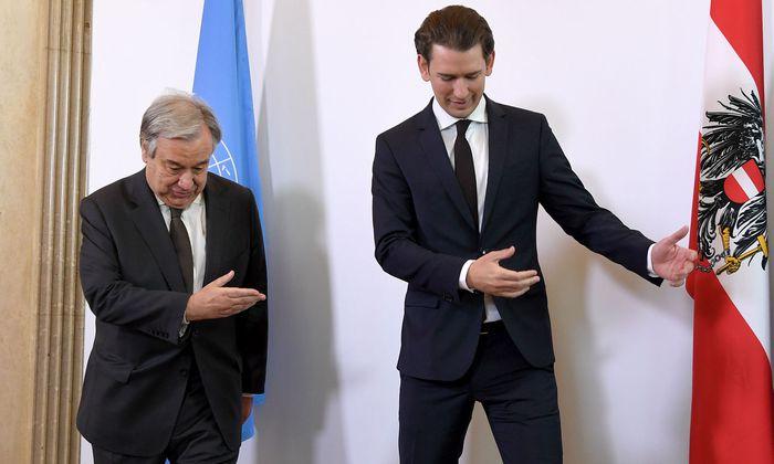 UNO-Generalsekretär António Guterres und Bundeskanzler Sebastian Kurz.