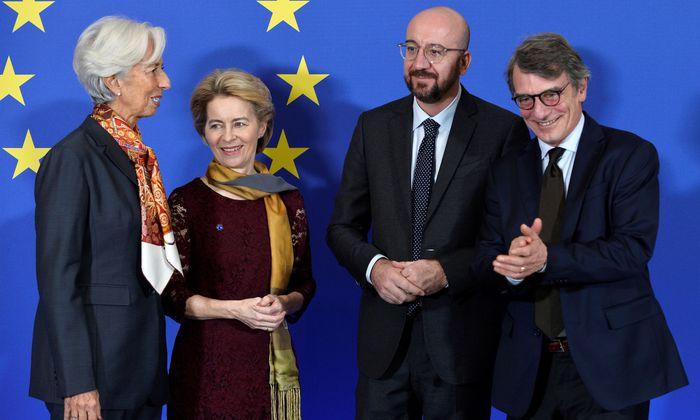Christine Lagarde, Ursula von der Leyen, Charles Michel und David Sassoli