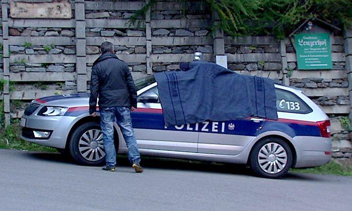 Das Polizeiauto nach dem Vorfall