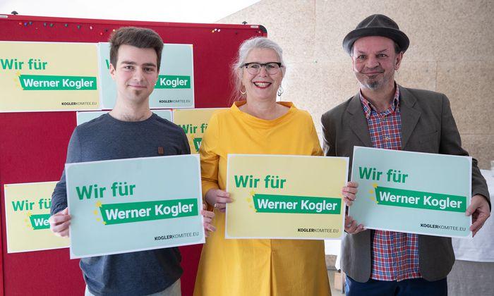 Das Unterstützungskomitee Sven Holuj, Terezija Stoisits und Kabarettist Leo Lukas