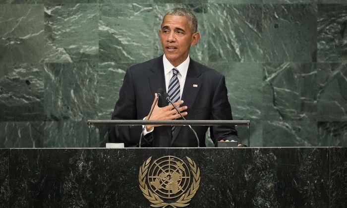 US-Präsident Barack Obama in seiner achten und letzten Rede vor dem voll besetzten Plenum der UNO-Generalversammlung.