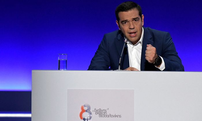 Greek Prime Minister Alexis Tsipras speaks during a news conference at the annual International Trade Fair of the city of Thessaloniki