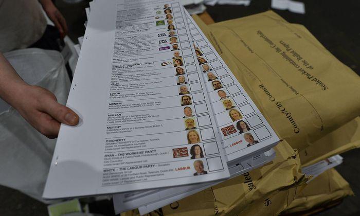 Ungebrauchte Wahlzettel in Dublin.