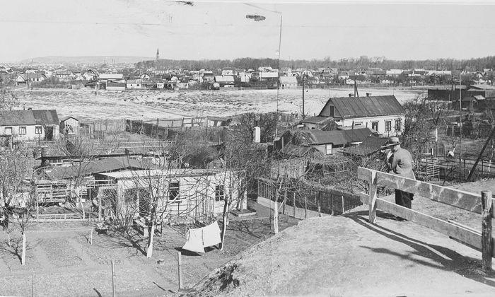 Eine wilde Siedlung, wie sie nach dem Ersten Weltkrieg in Wien mehrfach entstanden: ein Bretteldorf mit Blick in Richtung Bruckhaufen, aufgenommen 1935.