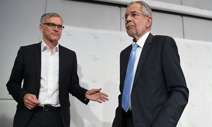 Wahlkampfmanager Lothar Lockl und Bundespräsidentschaftskandidat Alexander Van der Bellen