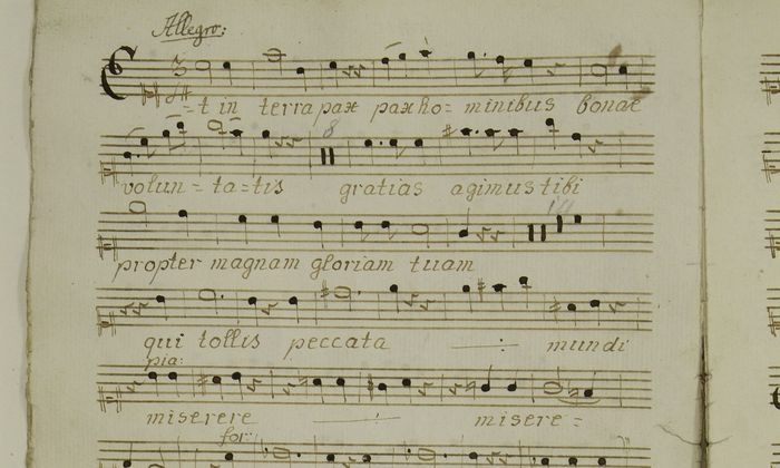 """Eine Abschrift von W. A. Mozarts """"Spatzenmesse"""" (Gloria, Sopran)."""
