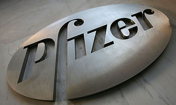 FILE - In this Jan. 25, 2009 file photo, a sign at Pfizer world headquarters is shown in New York. Gl
