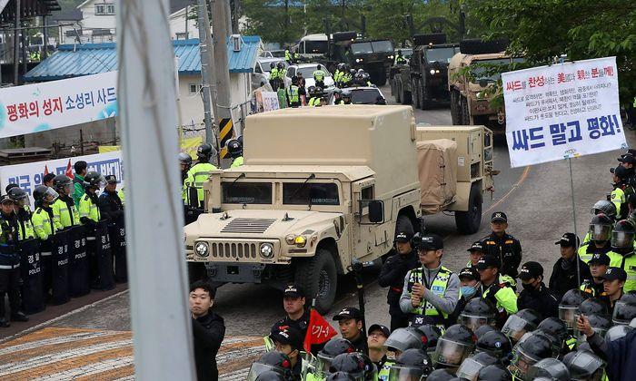 Demonstrationen gegen das Raketenabwehrsystem THAAD.