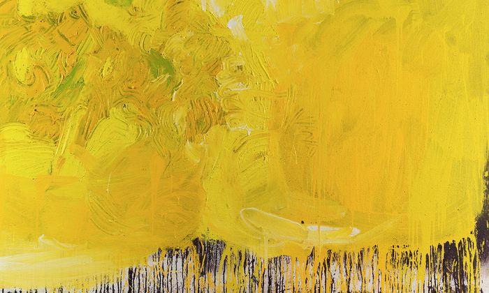 """14 Serien Nitschs wählte man aus, um die malerische Vielfalt zu zeigen. Hier ein Schüttbild aus dem """"Auferstehungszyklus II"""", 2002."""