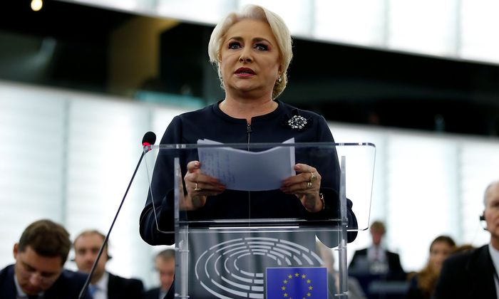 Romanian Prime Minister Dancila tdelivers a speech during a debate on the rule of law in Romania at the European Parliament in Strasbourg