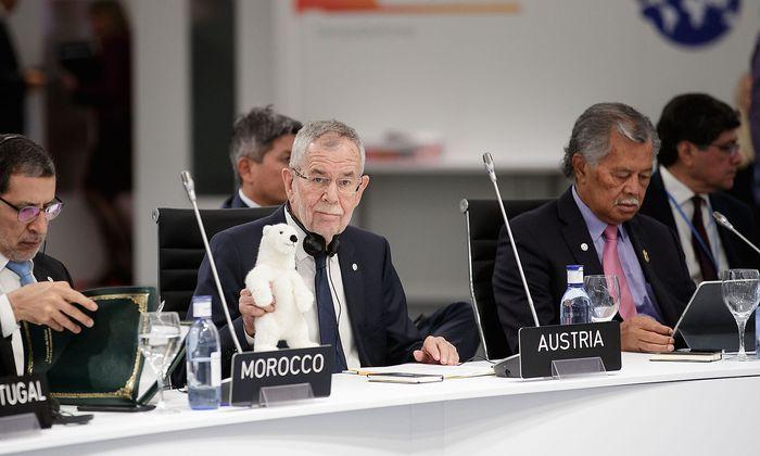 Alexander Van der Bellen reiste samt Eisbär zur Weltklimakonferenz nach Madrid.