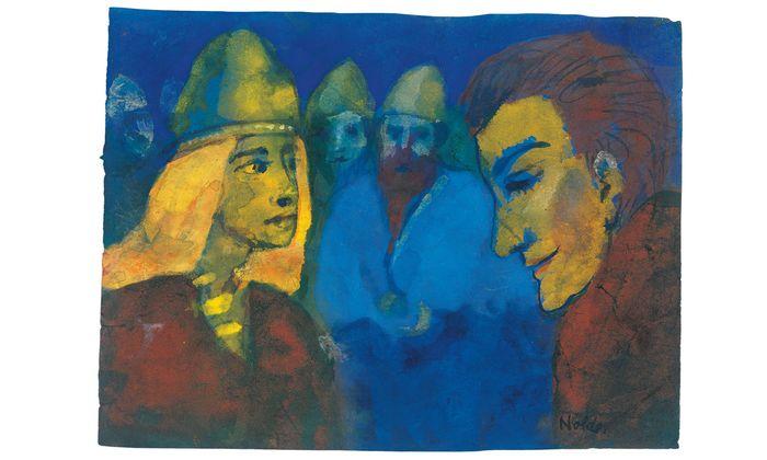 """Emil Noldes undatiertes Aquarell """"Herrin und Fremdling"""" diente ihm vermutlich als Vorlage für sein Gemälde """"Nordische Menschen"""" (1938). Es ist derzeit im Museum im Hamburger Bahnhof in Berlin zu sehen."""