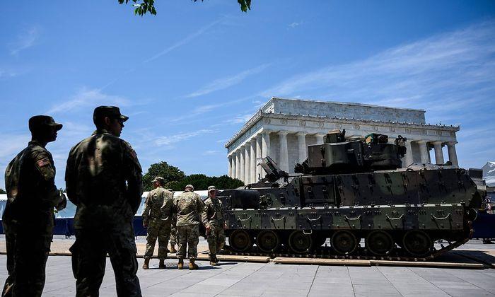 """In Washington laufen die Vorbereitungen zur """"Salute to America""""-Parade am 4. Juli."""
