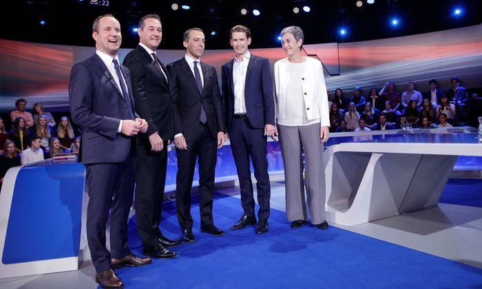 Die Kandidaten der Nationalratswahl 2017: Matthias Strolz (Neos), Heinz-Christian Strache (FPÖ), Christian Kern (SPÖ), Sebastian Kurz (ÖVP) und Ulrike Lunacek (Grüne)
