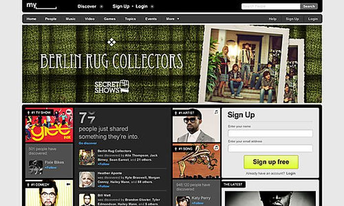 This screenshot provided by MySpace, shows the new MySpace.com page. MySpace, the online social hub t