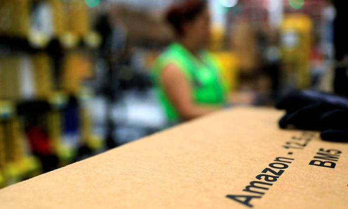 An Amazon package is seen at the new Amazon warehouse during its opening announcement on the outskirts of Mexico City