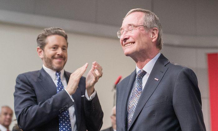 "WKÖ-Präsident Harald Mahrer freut sich über ""unseren Mr. Europe Christoph Leitl"""
