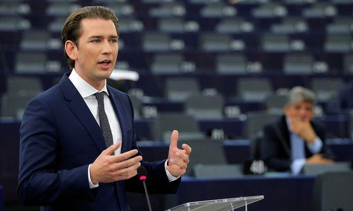 Kurz bei seiner Rede im EU-Parlament