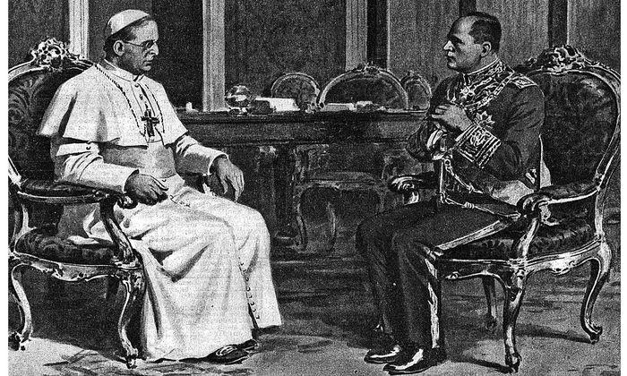 Mit Mussolini 1932 im Vatikan: Papst Pius XI., gestorben am 10. Februar 1939.