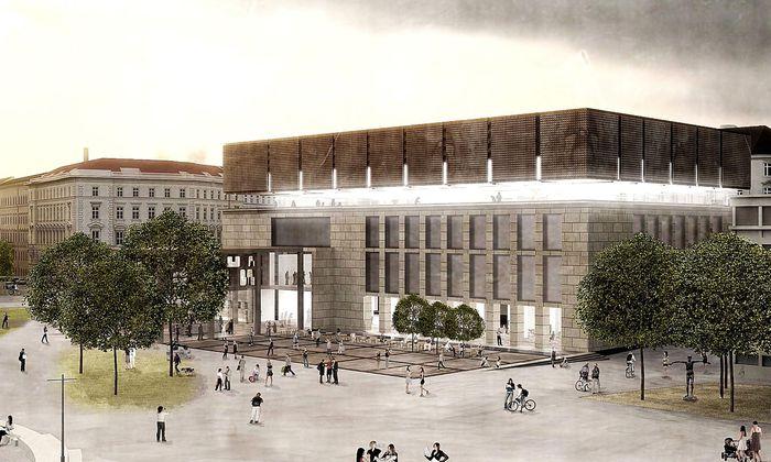 Über dem 1959 errichteten Haerdtl-Bau am Karlsplatz schwebt künftig ein quaderförmiger Dachaufbau, der mehr Platz für Sonderausstellungen schafft.