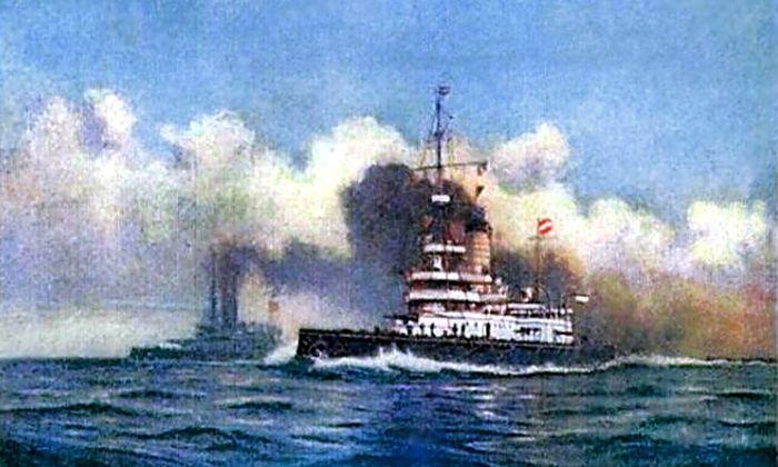 """Die """"SMS Wien"""" auf einer Lithographie-Karte des Künstlers Alexander Kirchner aus dem Jahr 1903 oder 1904."""