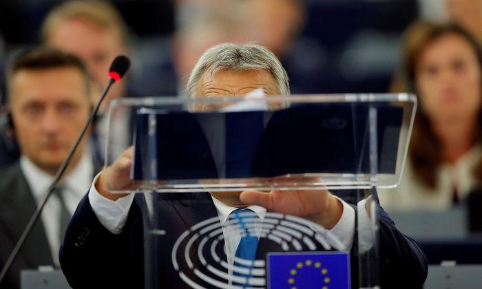 Viktor Orbán vor seiner Rede im EU-Parlament in Straßburg.