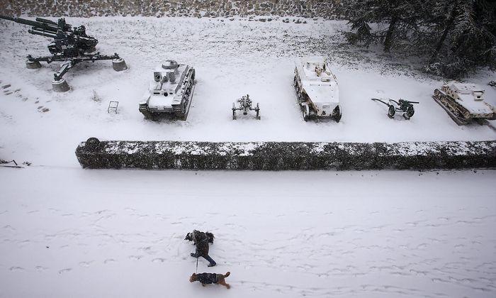 Auch in Belgrad herrscht Eiseskälte - hier ein Bild aus dem Kalemegdan Park.