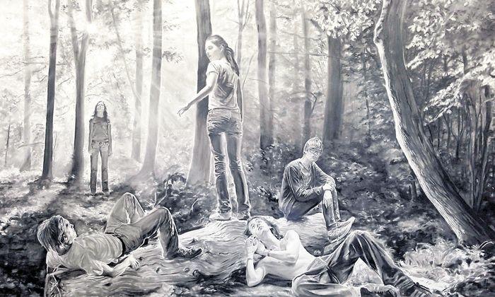 Dominiert den Stand des Wiener Galeristen Georg Kargl auf der Viennacontemporary: Fast vier Meter breite Kreidezeichnung von Muntean/Rosenblum, 2016.