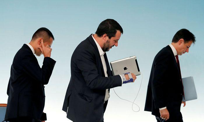 Fünf-Sterne-Chef Luigi Di Maio, Lega-Chef Matteo Salvini und Premier Giuseppe Conte