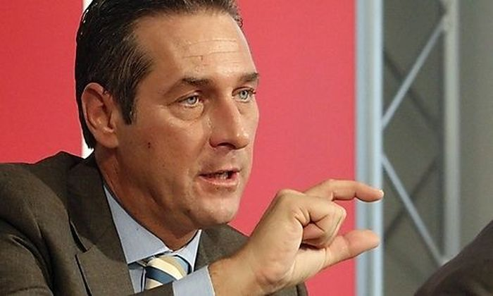 Head of Austrian Freedom Party FPOe Strache addresses a news conference in Vienna