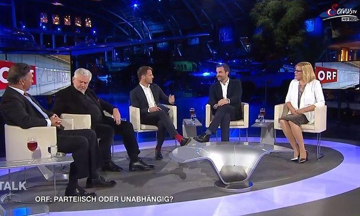 V.l.n.r: Norbert Bolz, Andreas Mölzer, Michael Fleischhacker, Florian Klenk und Kathrin Stainer-Hämmerle.