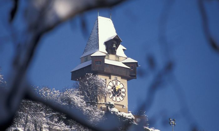 Graz Uhrturm Weihnachten
