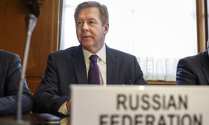 Russlands Vize-Außenminister Gatilov ist bei den Verhandlungen in Genf dabeia