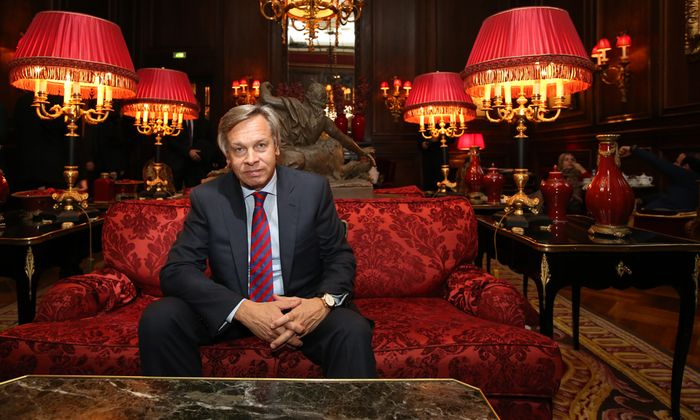 Alexej Puschkow, der Vorsitzende des außenpolitischen Ausschusses der Duma, bei seinem Besuch in Wien.