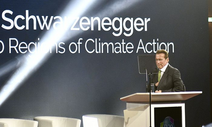 Schwarzenegger bei der 'R20 Austrian World Summit' Klimaschutzkonferenz am Dienstag
