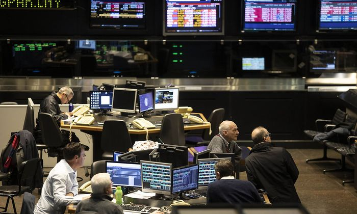 190815 BUENOS AIRES Aug 15 2019 Staff members work at a stock exchange in Buenos Aires