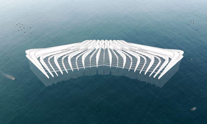 Visionär. Eine schwimmende Plattform soll Plastikpartikel aus dem Wasser filtern.