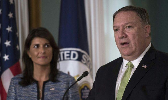 US-Außenminister Mike Pompeo und die amerikanische UN-Botschafterin Nikki Haley verkündeten den Austritt aus dem UN-Menschenrechtsrat.