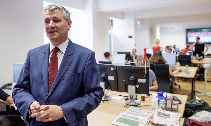 Georg Nierdermühlbichler in der Wahlkampfzentrale der SPÖ