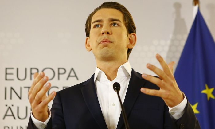Austria's Foreign Minister Sebastian Kurz addresses a news conference in Vienna