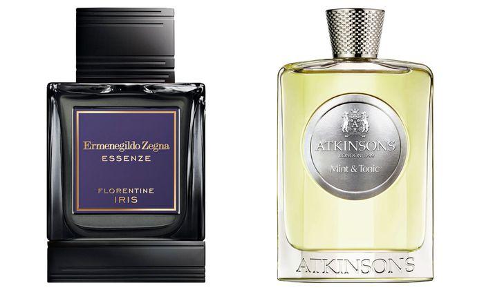 """""""Mint & Tonic"""" von Atkinsons (100 ml um 160 €) und """"Essenza Florentine Iris"""" von Ermenegildo Zegna (100 ml Eau de Parfum um 235 €)."""