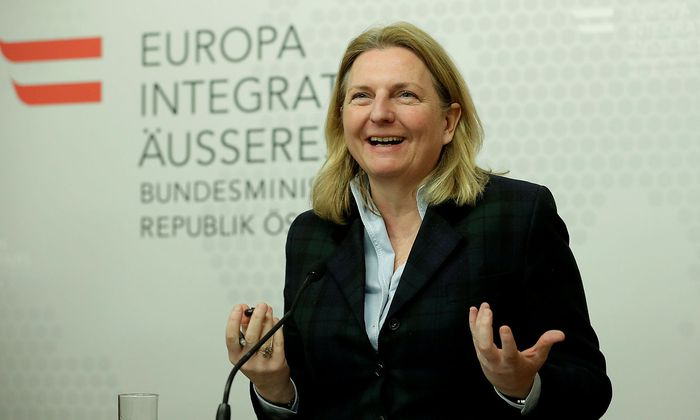 Austrian Foreign Minister Kneissl attends a news conference in Vienna